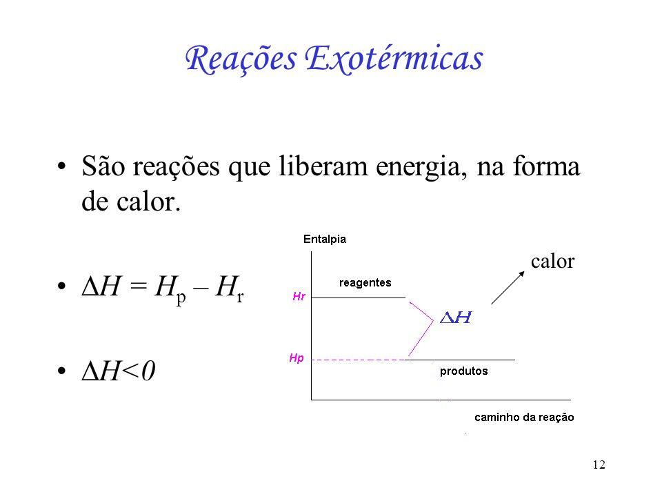 12 Reações Exotérmicas São reações que liberam energia, na forma de calor. H = H p – H r H<0 calor