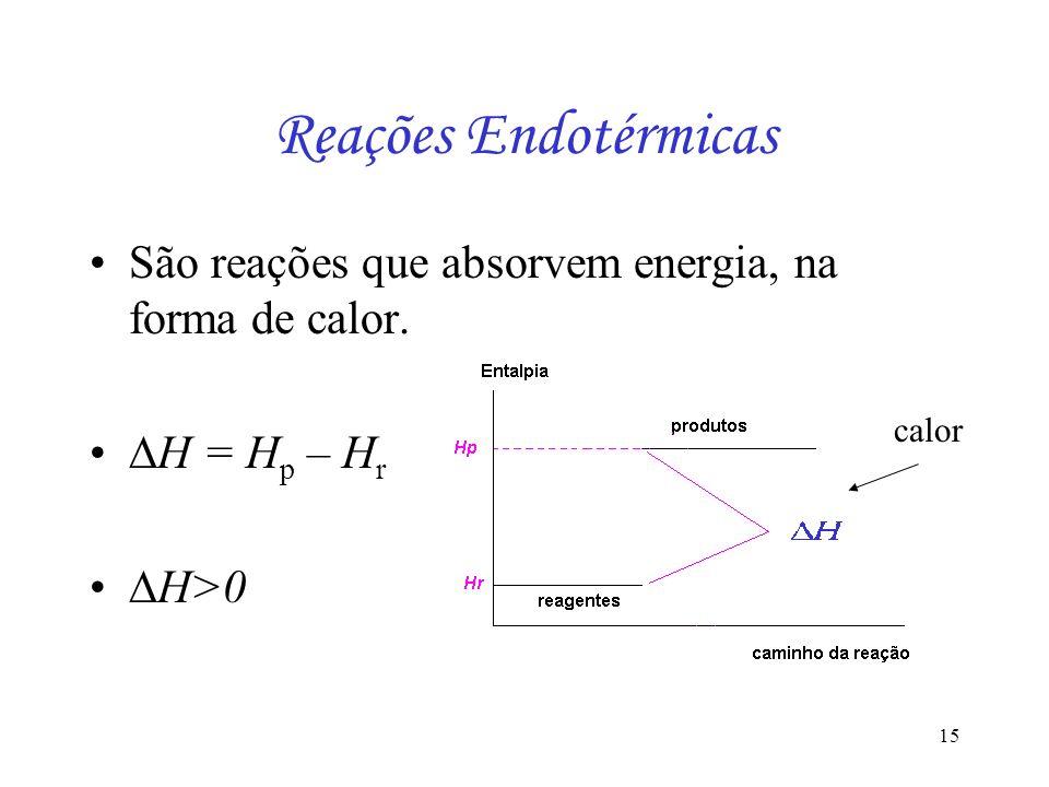 15 Reações Endotérmicas São reações que absorvem energia, na forma de calor. H = H p – H r H>0 calor