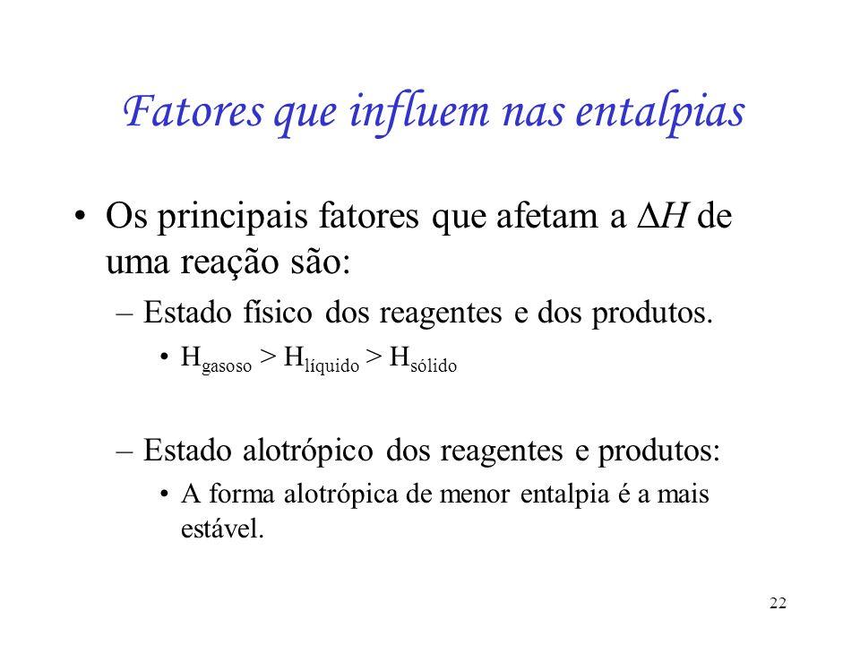 22 Fatores que influem nas entalpias Os principais fatores que afetam a H de uma reação são: –Estado físico dos reagentes e dos produtos. H gasoso > H