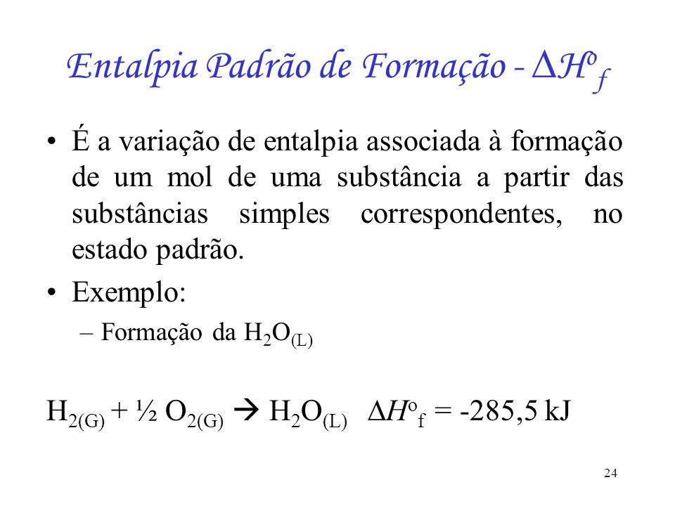 24 Entalpia Padrão de Formação - H o f É a variação de entalpia associada à formação de um mol de uma substância a partir das substâncias simples corr