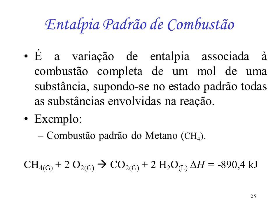 25 Entalpia Padrão de Combustão É a variação de entalpia associada à combustão completa de um mol de uma substância, supondo-se no estado padrão todas