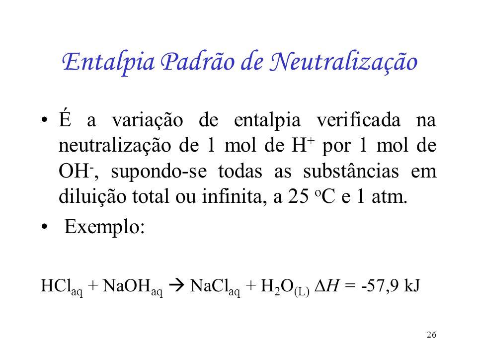 26 Entalpia Padrão de Neutralização É a variação de entalpia verificada na neutralização de 1 mol de H + por 1 mol de OH -, supondo-se todas as substâ