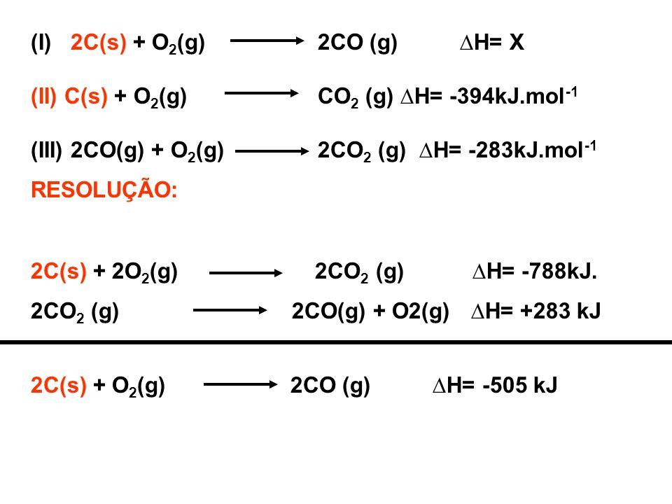(I) 2C(s) + O 2 (g) 2CO (g) H= X (II)C(s) + O 2 (g) CO 2 (g) H= -394kJ.mol -1 (III) 2CO(g) + O 2 (g) 2CO 2 (g) H= -283kJ.mol -1 RESOLUÇÃO: 2C(s) + 2O