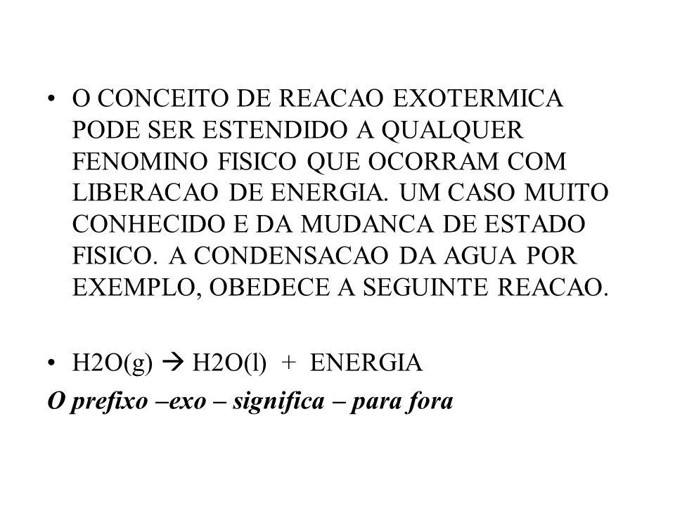 O CONCEITO DE REACAO EXOTERMICA PODE SER ESTENDIDO A QUALQUER FENOMINO FISICO QUE OCORRAM COM LIBERACAO DE ENERGIA. UM CASO MUITO CONHECIDO E DA MUDAN