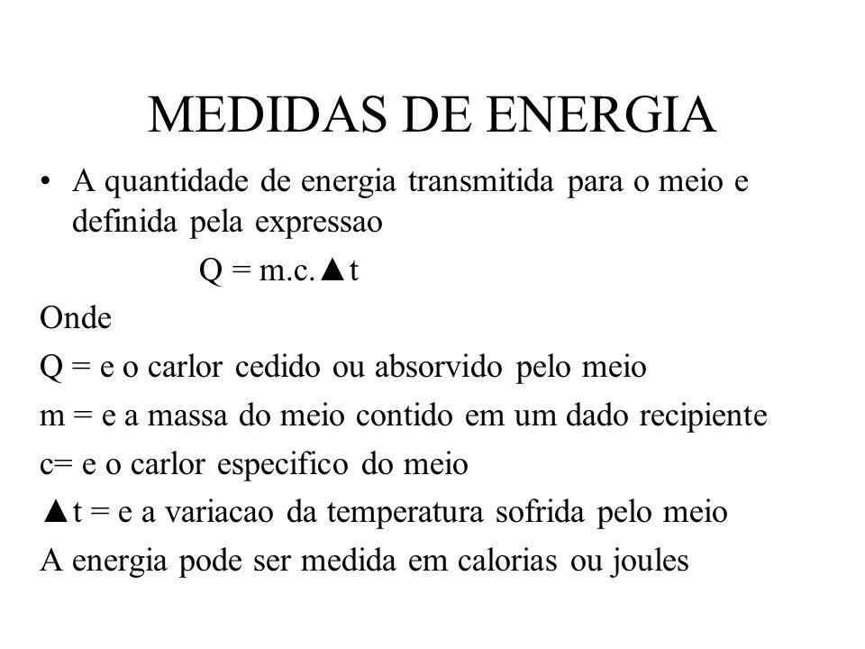 MEDIDAS DE ENERGIA A quantidade de energia transmitida para o meio e definida pela expressao Q = m.c.t Onde Q = e o carlor cedido ou absorvido pelo me