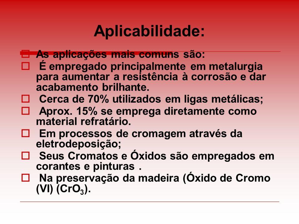 Aplicabilidade: As aplicações mais comuns são: É empregado principalmente em metalurgia para aumentar a resistência à corrosão e dar acabamento brilha