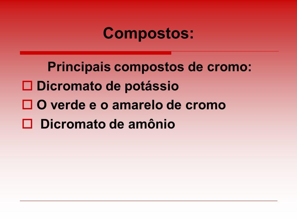 Compostos: Principais compostos de cromo: Dicromato de potássio O verde e o amarelo de cromo Dicromato de amônio