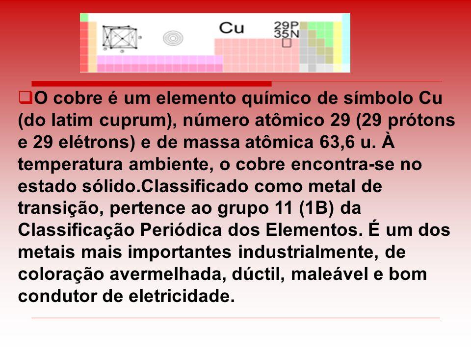 O cobre é um elemento químico de símbolo Cu (do latim cuprum), número atômico 29 (29 prótons e 29 elétrons) e de massa atômica 63,6 u. À temperatura a