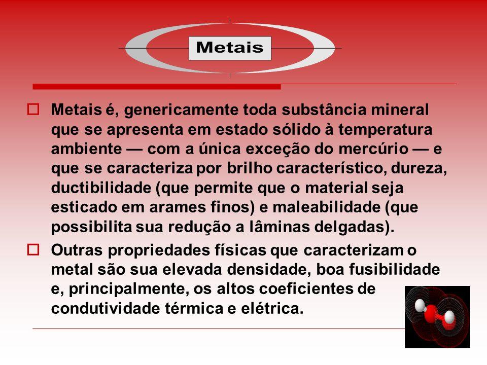 Metais é, genericamente toda substância mineral que se apresenta em estado sólido à temperatura ambiente com a única exceção do mercúrio e que se cara