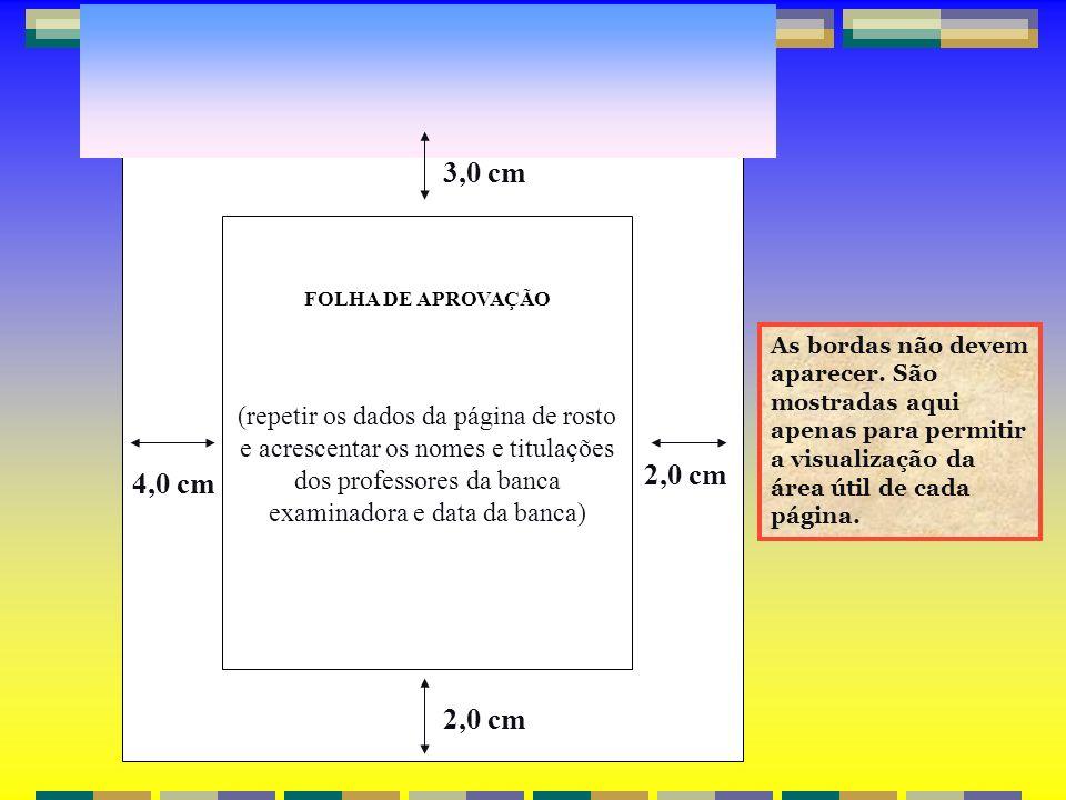 FOLHA DE APROVAÇÃO (repetir os dados da página de rosto e acrescentar os nomes e titulações dos professores da banca examinadora e data da banca) 2,0