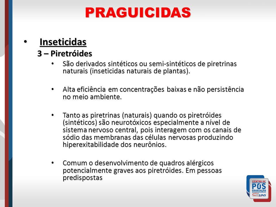 PRAGUICIDAS Inseticidas Inseticidas 3 – Piretróides São derivados sintéticos ou semi-sintéticos de piretrinas naturais (inseticidas naturais de planta