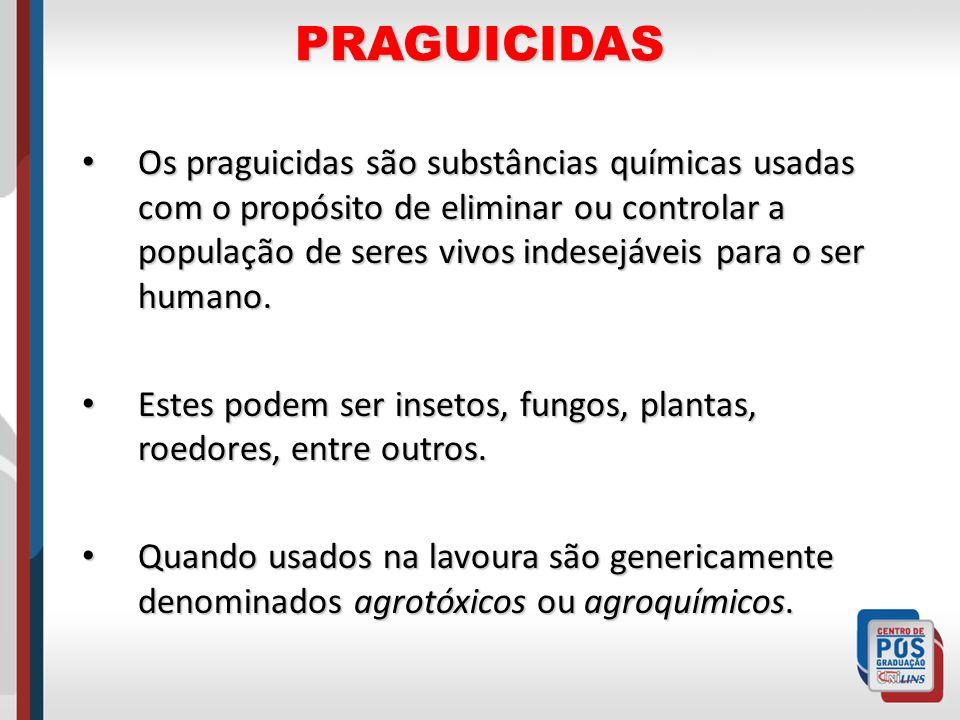 PRAGUICIDAS Os praguicidas são substâncias químicas usadas com o propósito de eliminar ou controlar a população de seres vivos indesejáveis para o ser