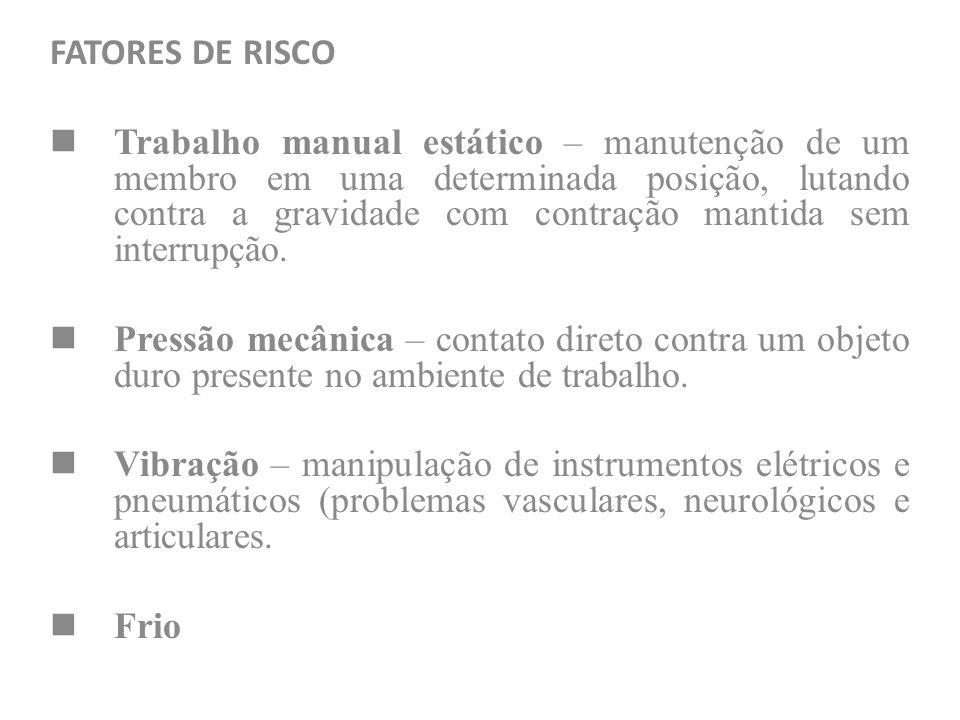 FATORES DE RISCO Trabalho manual estático – manutenção de um membro em uma determinada posição, lutando contra a gravidade com contração mantida sem i