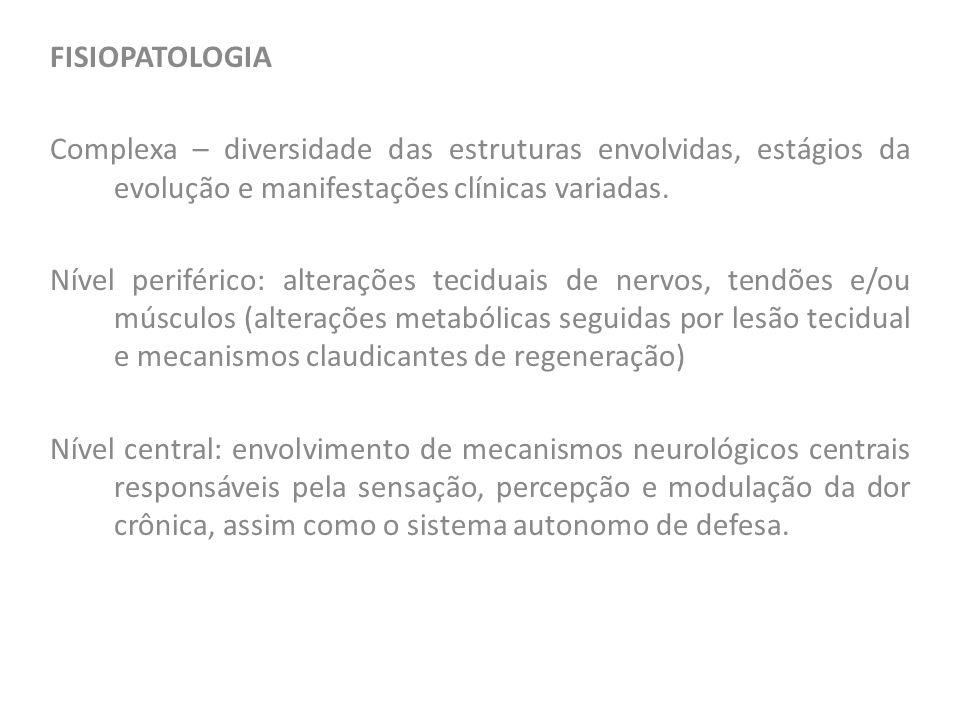 FISIOPATOLOGIA Complexa – diversidade das estruturas envolvidas, estágios da evolução e manifestações clínicas variadas. Nível periférico: alterações