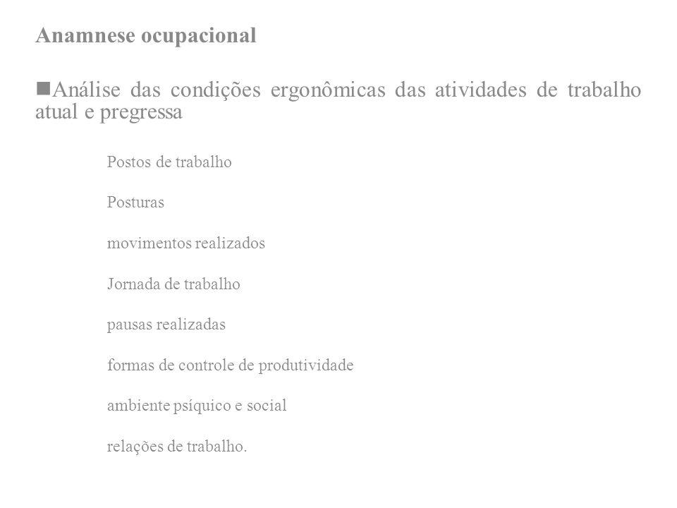 Anamnese ocupacional Análise das condições ergonômicas das atividades de trabalho atual e pregressa Postos de trabalho Posturas movimentos realizados