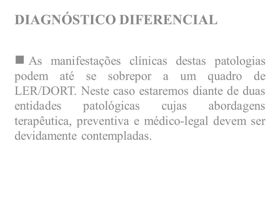 DIAGNÓSTICO DIFERENCIAL As manifestações clínicas destas patologias podem até se sobrepor a um quadro de LER/DORT. Neste caso estaremos diante de duas
