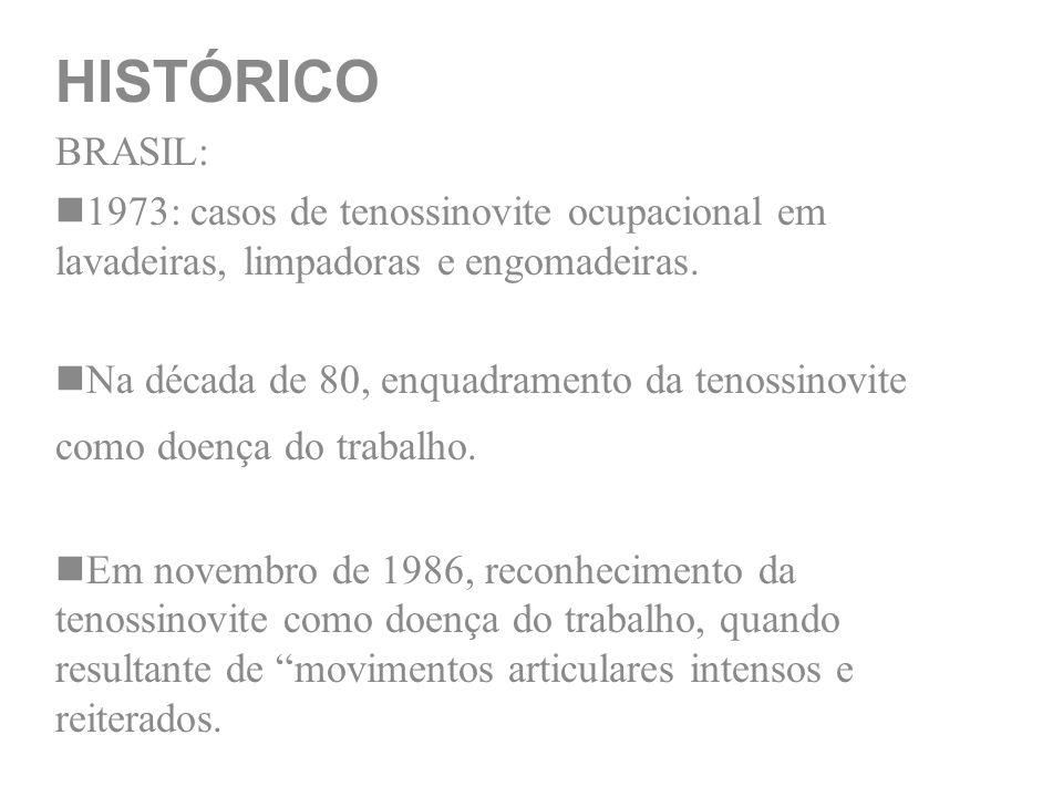 HISTÓRICO BRASIL: 1973: casos de tenossinovite ocupacional em lavadeiras, limpadoras e engomadeiras. Na década de 80, enquadramento da tenossinovite c