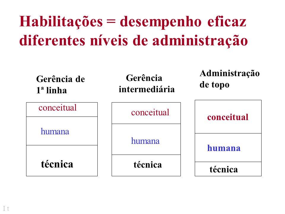 I t Administradores de Topo: Responsável p/ adm global estabelece política operacional conduz à interação da org. com o ambiente Administradores (gere