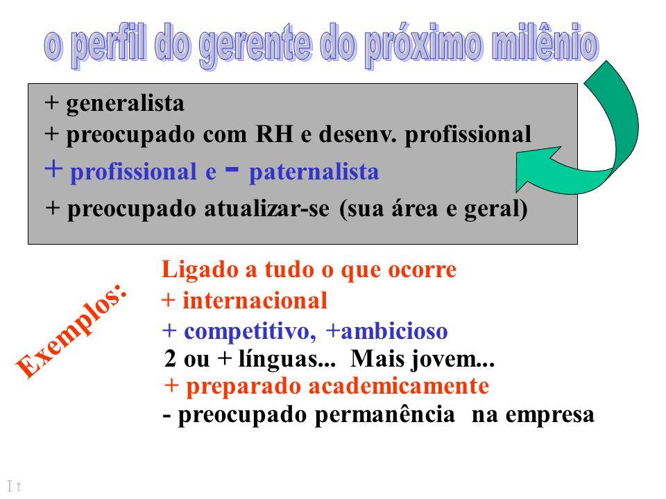 I t > sofisticação... > consciência de qualidade produtos personalizados incremento de mulher na força de trabalho como ficamos, em relação às mudança