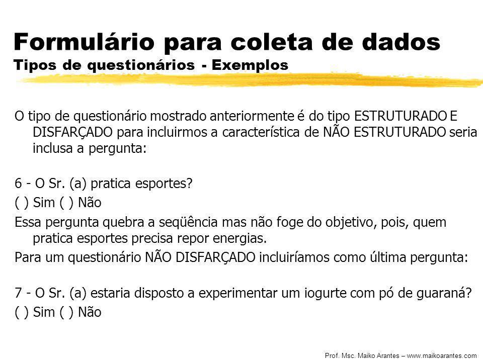 Prof. Msc. Maiko Arantes – www.maikoarantes.com Formulário para coleta de dados Tipos de questionários - Exemplos O tipo de questionário mostrado ante