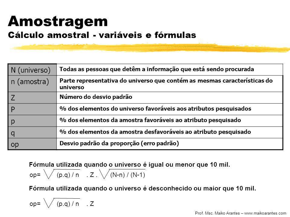 Prof. Msc. Maiko Arantes – www.maikoarantes.com Amostragem Cálculo amostral - variáveis e fórmulas N (universo) Todas as pessoas que detêm a informaçã