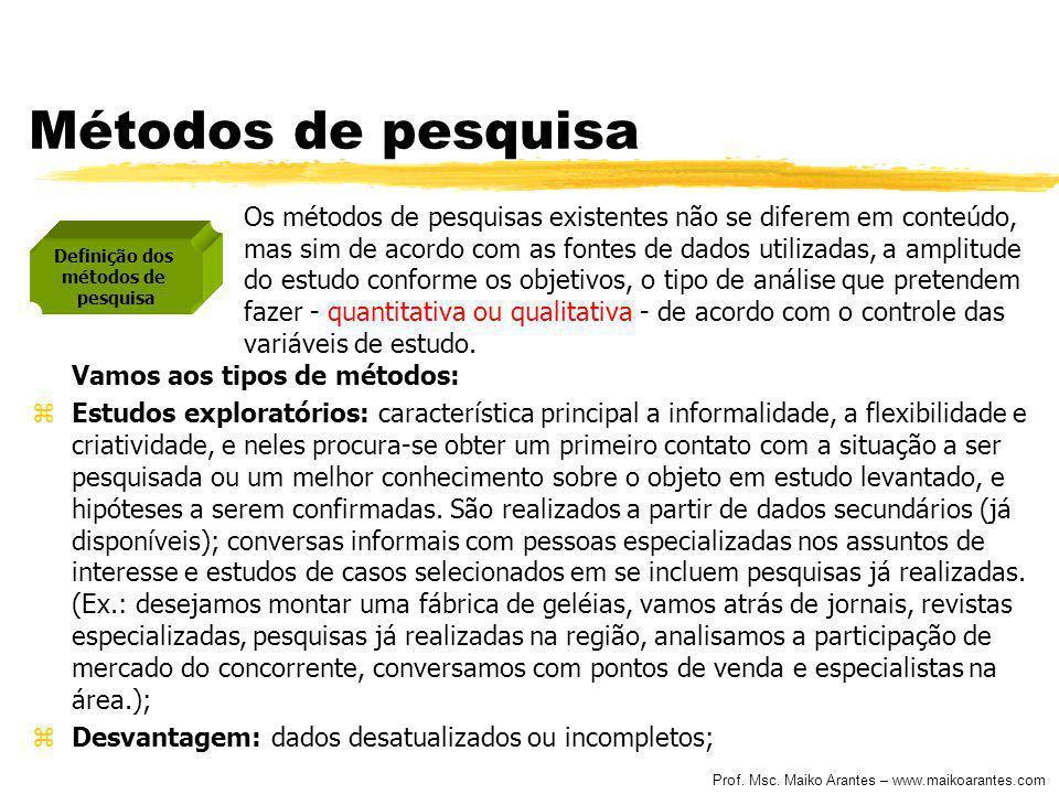 Prof. Msc. Maiko Arantes – www.maikoarantes.com Métodos de pesquisa Os métodos de pesquisas existentes não se diferem em conteúdo, mas sim de acordo c