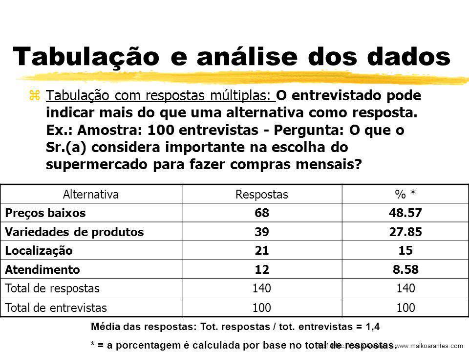 Prof. Msc. Maiko Arantes – www.maikoarantes.com Tabulação e análise dos dados zTabulação com respostas múltiplas: O entrevistado pode indicar mais do