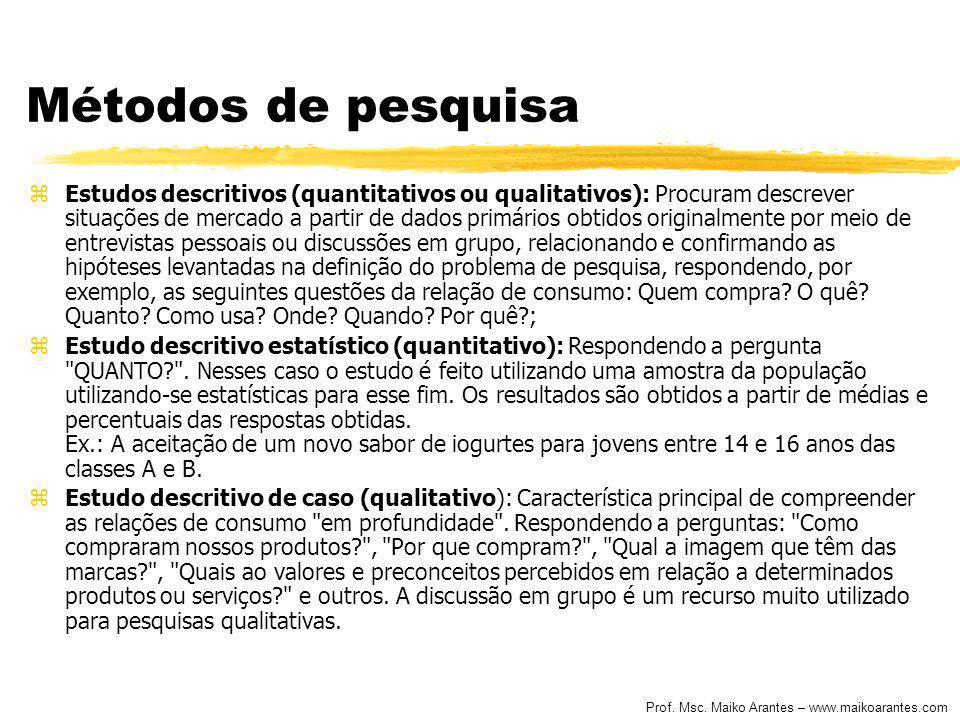 Prof. Msc. Maiko Arantes – www.maikoarantes.com Métodos de pesquisa zEstudos descritivos (quantitativos ou qualitativos): Procuram descrever situações