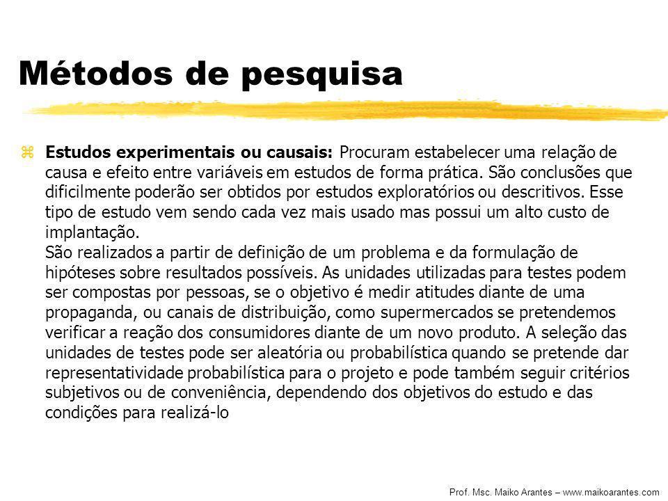Prof. Msc. Maiko Arantes – www.maikoarantes.com Métodos de pesquisa zEstudos experimentais ou causais: Procuram estabelecer uma relação de causa e efe