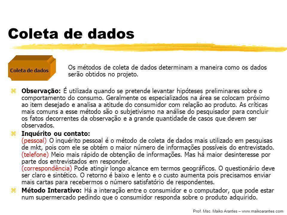 Prof. Msc. Maiko Arantes – www.maikoarantes.com Coleta de dados Os métodos de coleta de dados determinam a maneira como os dados serão obtidos no proj