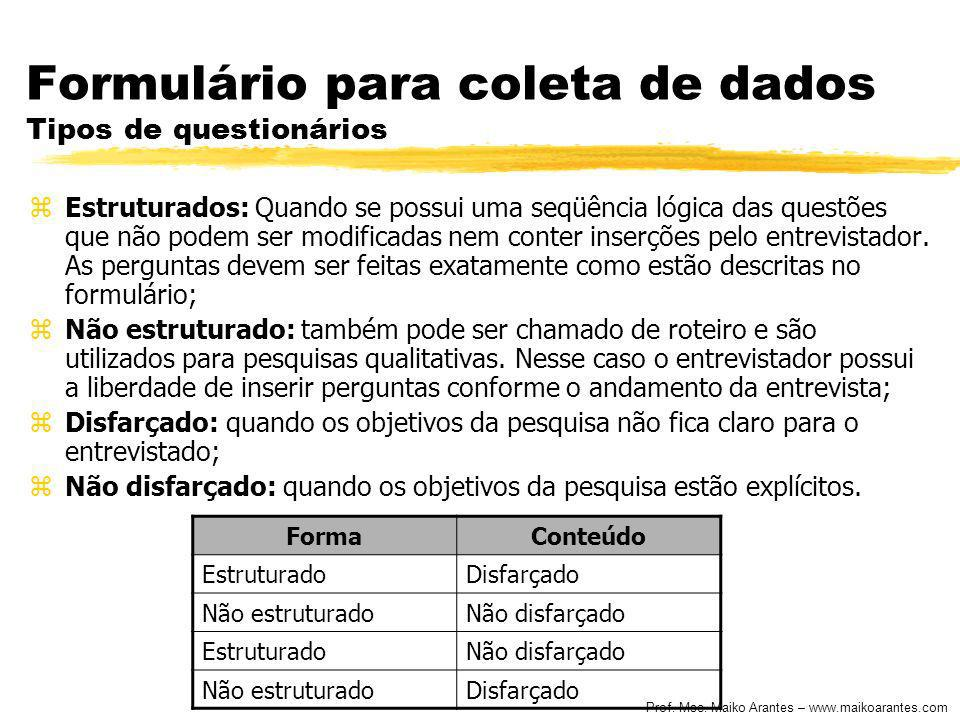 Prof. Msc. Maiko Arantes – www.maikoarantes.com Formulário para coleta de dados Tipos de questionários zEstruturados: Quando se possui uma seqüência l