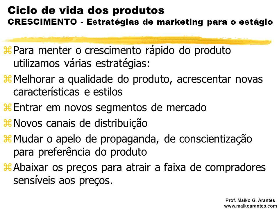 Prof. Maiko G. Arantes www.maikoarantes.com Ciclo de vida dos produtos CRESCIMENTO - Estratégias de marketing para o estágio zPara menter o cresciment