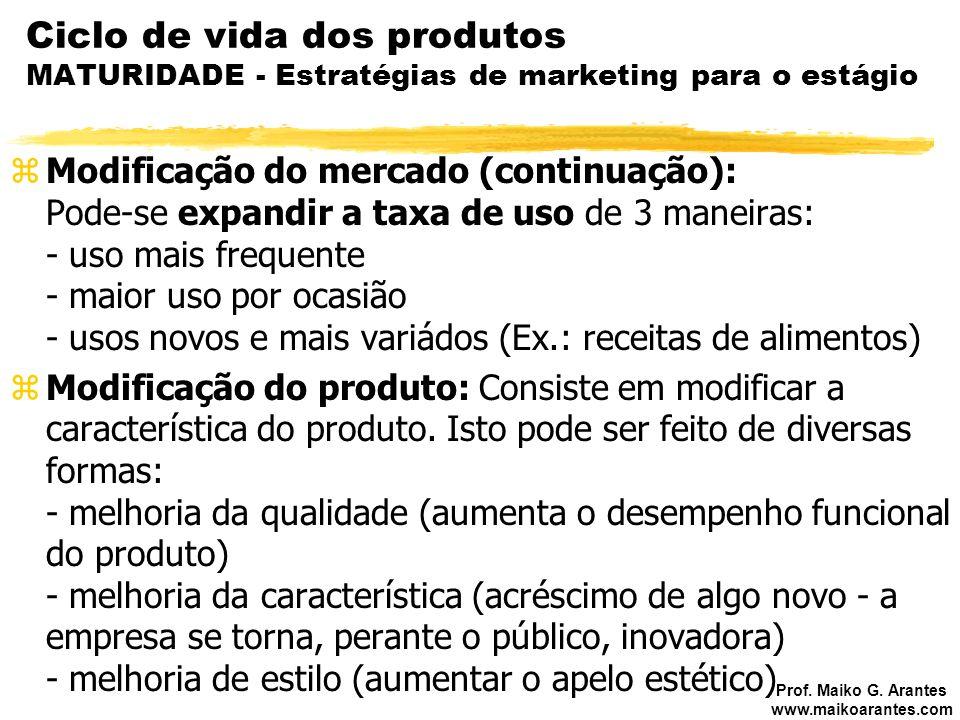 Prof. Maiko G. Arantes www.maikoarantes.com Ciclo de vida dos produtos MATURIDADE - Estratégias de marketing para o estágio zModificação do mercado (c