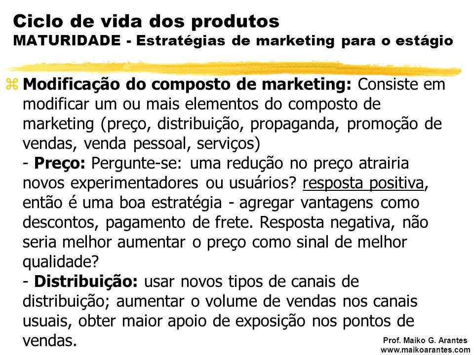 Prof. Maiko G. Arantes www.maikoarantes.com Ciclo de vida dos produtos MATURIDADE - Estratégias de marketing para o estágio zModificação do composto d