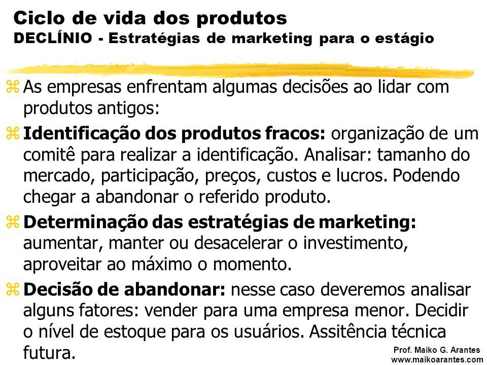 Prof. Maiko G. Arantes www.maikoarantes.com Ciclo de vida dos produtos DECLÍNIO - Estratégias de marketing para o estágio zAs empresas enfrentam algum