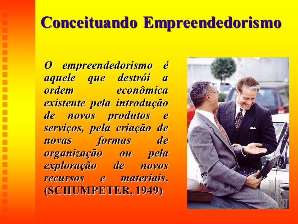 Conceituando Empreendedorismo O empreendedorismo é aquele que destrói a ordem econômica existente pela introdução de novos produtos e serviços, pela c