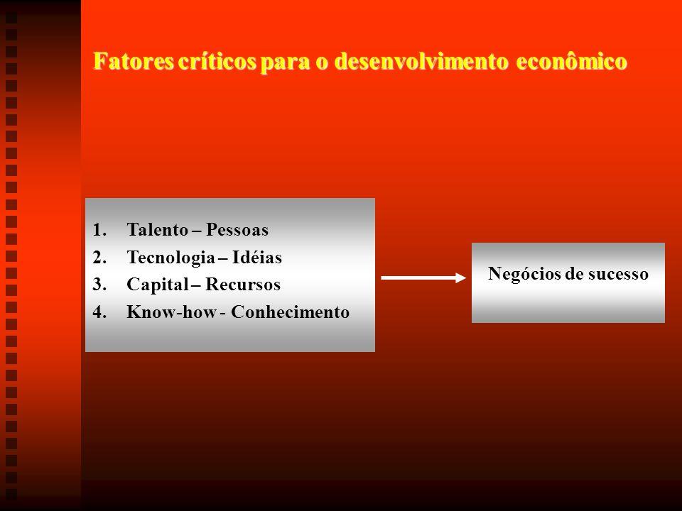 Fatores críticos para o desenvolvimento econômico 1.Talento – Pessoas 2.Tecnologia – Idéias 3.Capital – Recursos 4.Know-how - Conhecimento Negócios de