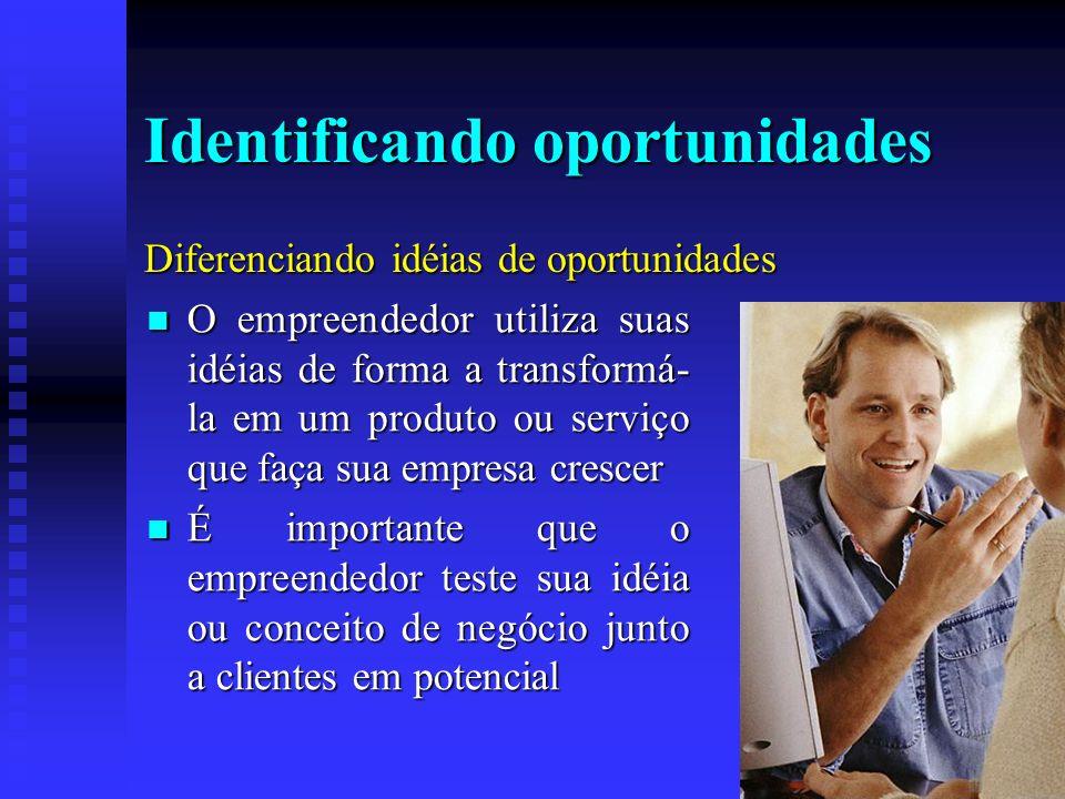 Identificando oportunidades O empreendedor utiliza suas idéias de forma a transformá- la em um produto ou serviço que faça sua empresa crescer O empre
