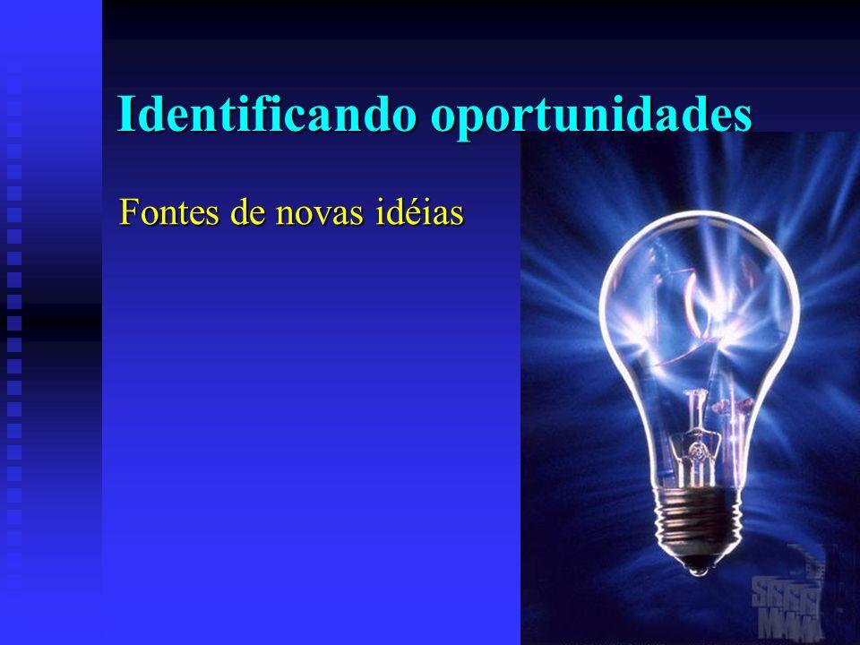 Identificando oportunidades Fontes de novas idéias