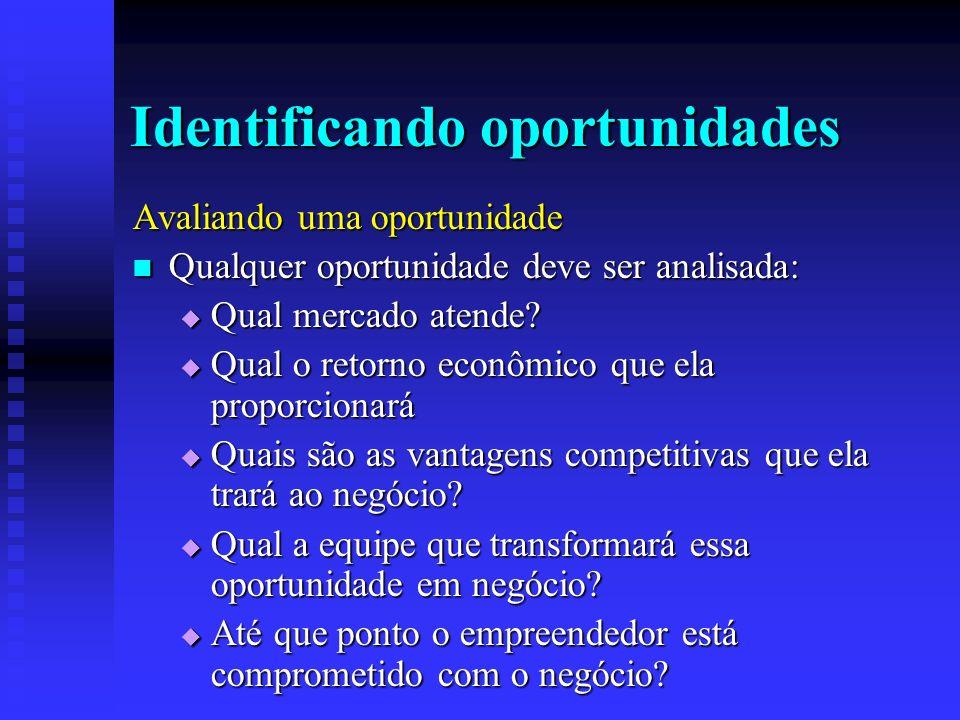 Identificando oportunidades Avaliando uma oportunidade Qualquer oportunidade deve ser analisada: Qualquer oportunidade deve ser analisada: Qual mercad
