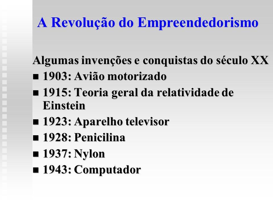 A Revolução do Empreendedorismo Algumas invenções e conquistas do século XX 1903: Avião motorizado 1903: Avião motorizado 1915: Teoria geral da relati