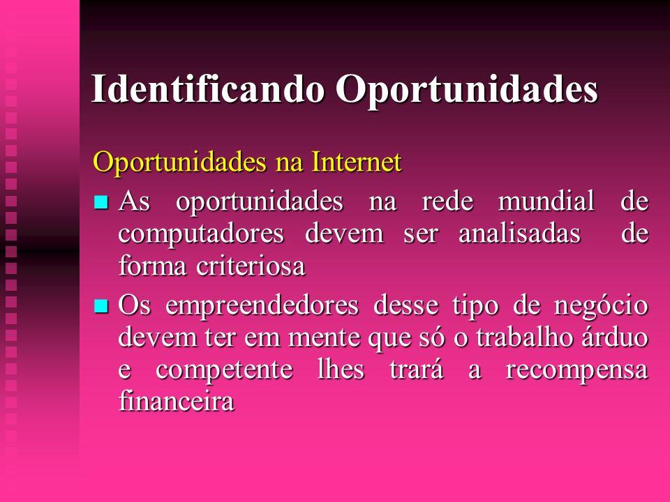 Identificando Oportunidades Oportunidades na Internet As oportunidades na rede mundial de computadores devem ser analisadas de forma criteriosa As opo
