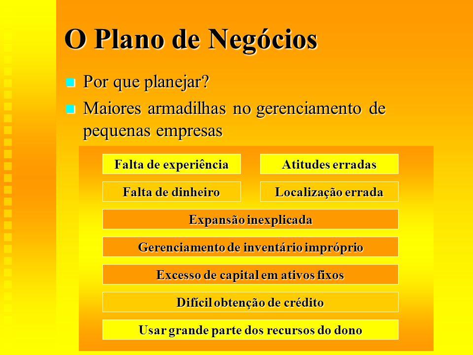O Plano de Negócios Por que planejar? Por que planejar? Maiores armadilhas no gerenciamento de pequenas empresas Maiores armadilhas no gerenciamento d