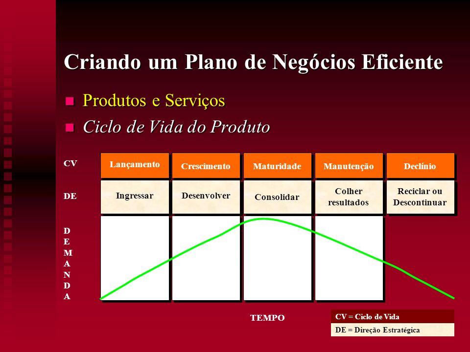 Criando um Plano de Negócios Eficiente Produtos e Serviços Produtos e Serviços Ciclo de Vida do Produto Ciclo de Vida do Produto Lançamento Ingressar