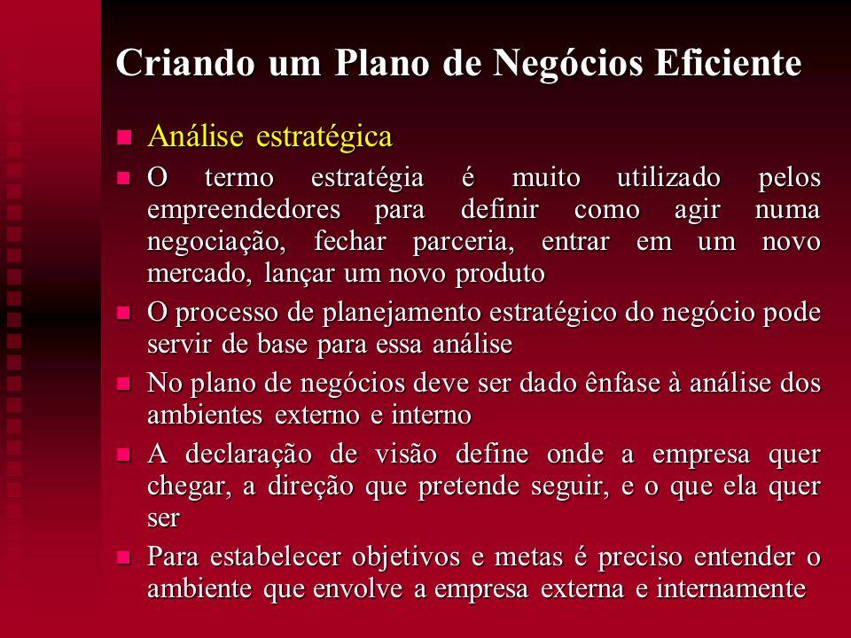 Criando um Plano de Negócios Eficiente Análise estratégica Análise estratégica O termo estratégia é muito utilizado pelos empreendedores para definir