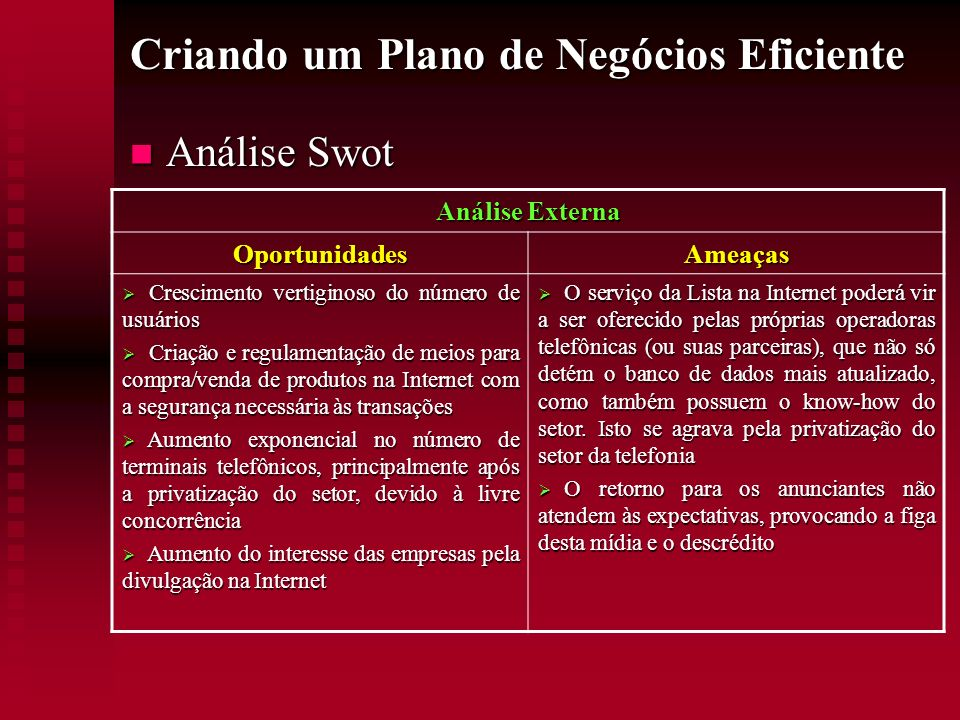 Criando um Plano de Negócios Eficiente Análise Swot Análise Swot Análise Externa OportunidadesAmeaças Crescimento vertiginoso do número de usuários Cr