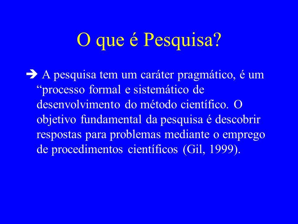O que é Pesquisa? A pesquisa tem um caráter pragmático, é um processo formal e sistemático de desenvolvimento do método científico. O objetivo fundame