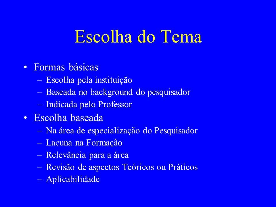 Escolha do Tema Formas básicas –Escolha pela instituição –Baseada no background do pesquisador –Indicada pelo Professor Escolha baseada –Na área de es