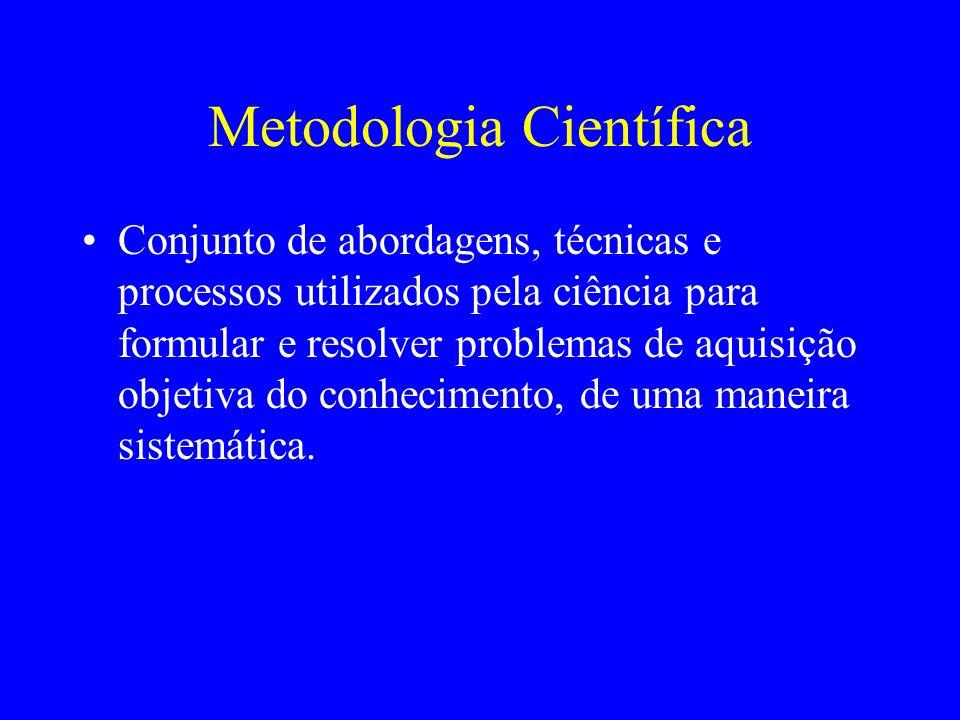 Metodologia Científica Conjunto de abordagens, técnicas e processos utilizados pela ciência para formular e resolver problemas de aquisição objetiva d