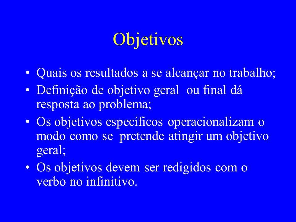 Objetivos Quais os resultados a se alcançar no trabalho; Definição de objetivo geral ou final dá resposta ao problema; Os objetivos específicos operac